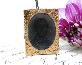Antique Tin Type Photograph of a Man from the 1800's,  Tiny Tintype in Brass Frame with String for Hanging