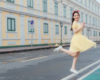 Happily Ever After - Puff Sleeve Dress Yellow Plaid Dress Snow White Dress Swing Dance Dress Gingham Dress Summer Dress Homecoming Dress