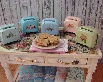 Dollhouse Miniature Shabby Chic Farmhouse Vintage Toaster with Roses or Flowers Motif