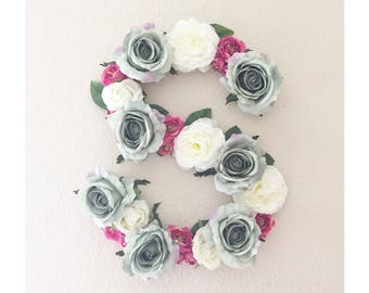"""Flower Letter, 15"""" 25"""" Floral Letter, Baby Girl Nursery Decor, Baby Shower Decor, Baby Shower Gift, Baby Initial, Nursery Monogram"""