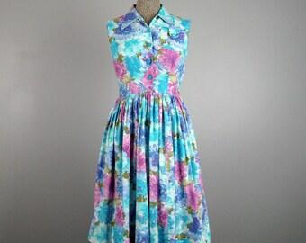 Vintage 1950s Cotton Dress 50s Blue and Purple Floral Sleeveless Dress Size S
