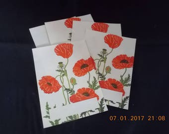 Vintage Bookplates - Oriental Poppies - 5 Pre-Glued book plates from Antioch Boookplate Company - Collage Scrapbook Art Journal Papers