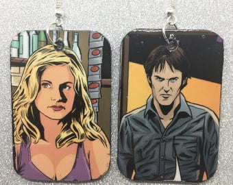 Upcycled True Blood Comic Book Earrings