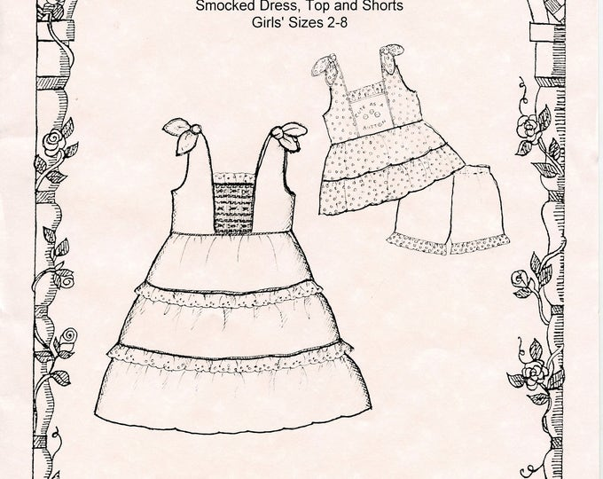 Dress Pattern /  Smocked  / Top and Shorts / Girls  / Smocked or Embroidered Inset / Miranda  by Primrose Lane