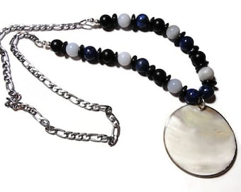 Lapis Lazuli Chalcedony shell steel necklace black and blue
