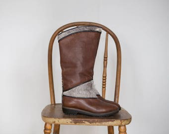 Vintage fur lined leather boots