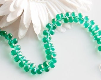 STORE CLOSING! ST110 - Small 6mm Sea Green Transparent Glass Bead Drops - 1 Strand