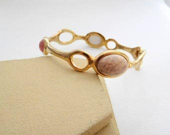 Retro Pink Peach Moonglow Faux Gemstone Gold Tone Mod Bangle Bracelet MM9