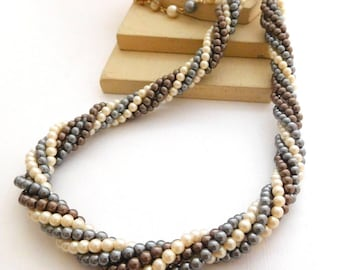 Vintage Gray Brown White Faux Pearl Bead Twist Torsade Necklace N35