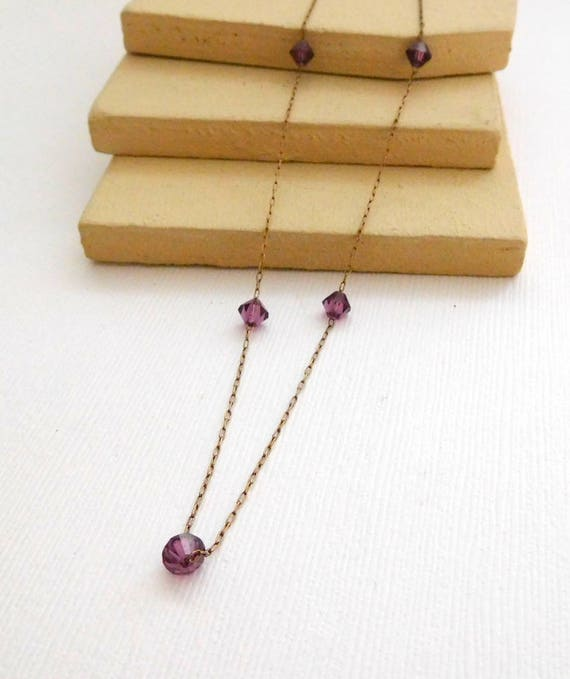 Vintage Antique Delicate Purple Crystal Bead Gold Chain Choker Necklace UU50