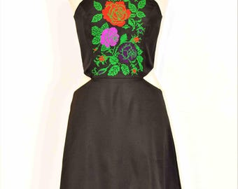 Hand-embroidered dress, Embroidery Rose Dress,Midi Embroidery Rose on Black satin cotton , Bohemian Rose Dress , Statement Embroidery dress
