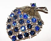 "Lisner Brooch Pin Signed Blue AB Rhinestones Berry Fruit Jewelry 2"" Vintage"