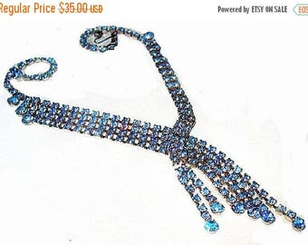 Blue Rhinestone Necklace Earring Set Waterfall Cascade Silver Metal High End Vintage