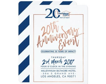 Real wood corporate business invitation corporate business anniversary logo party invitation modern script faux rose gold foil navy stylish stopboris Gallery