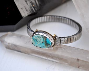 Sky People Collection | Turquoise x Brass x Sterling Silver | Turquoise Vintage Watch II