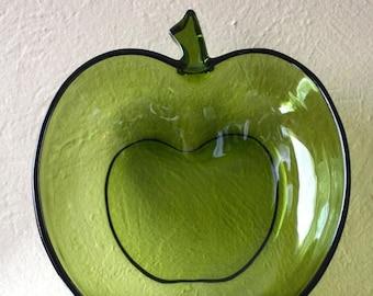 Clearance Sale Vintage Hazel Atlas Green Glass Apple Bowl