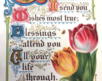 Pretty Edwardian Era Postcard-Good Wishes and Tulips with Renaissance Look