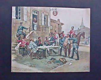 Edwardian Era Autogravure French Military Print from the San Francisco Sunday Bulletin