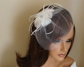 White Feather Flower Fascinator with Tulle Birdcage Veil