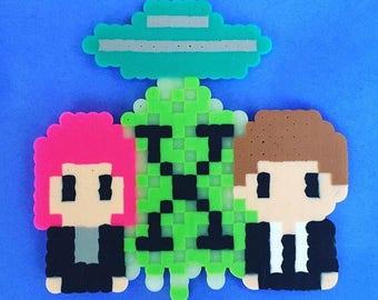 X-Files Perler Bead sprite / magnet / fuse beads / hama beads / horror / Pixel art