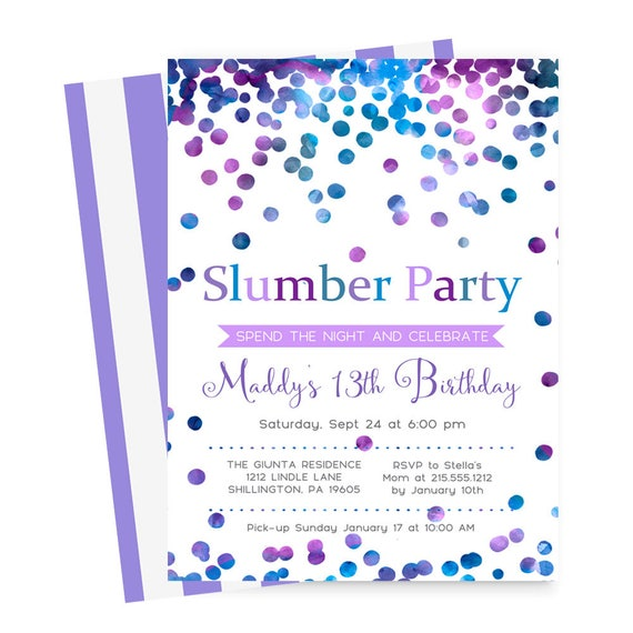 Confetti Slumber Party Invitations Girls Sleepover Birthday – Spa Slumber Party Invitations