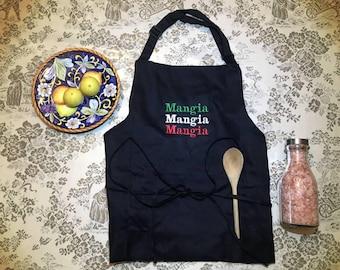 Mangia Mangia Mangia Embroidered Italian Apron Black - 100% Cotton