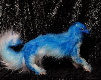 Arctic blue  Full Poseable dragon-fox OOAK original Fantasy Soft Sculpture Art Doll