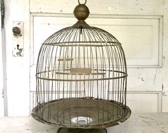 Antique Birdcage Hendryx Brass Domed Bee Hive