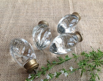 Vintage Glass Knobs Doorknobs Cabinet Knobs Heavy Pretty Glass with Bronze Brass Colored Metal