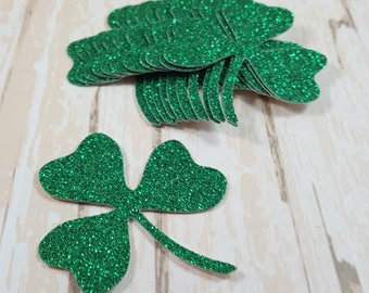 12 Glitter Clover St Patricks Day Die cuts, Scrapbook Embellishment, Card Topper