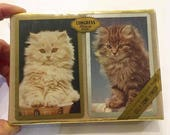Vintage Two fluffy Cats Congress Playing Cards ~ Cel-u-tone finish