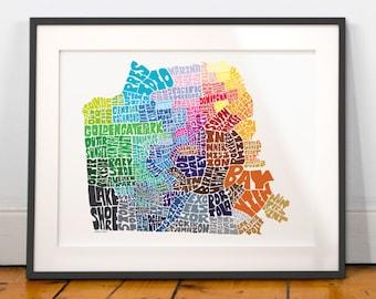 San Francisco Neighborhood Map Art Print, San Francisco wall decor, San Francisco typography map art