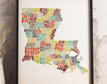 Louisiana map Etsy