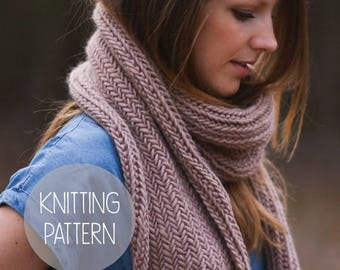 FLASH SALE KNITTING Pattern - easy herringbone scarf
