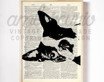 Minimalist Mini Black and White Boston Terrier Original Dog Lover Art Print on an Antique Unframed Upcycled Bookpage