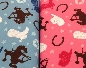 Cowgirl cowboy rodeo western fabric, pink blue Roundup by Riley Blake  boots, horseshoe, stars and hat, by the yard, quilting