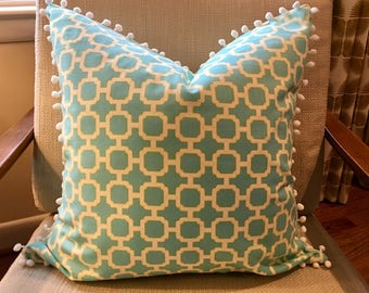 Aqua, Ivory and Yellow Geometric Pillow Covers / Designer Swavelle Mill Rowley Parakeet/ Custom Handmade Home Decor / Child's Room