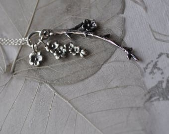 delicate cherry blossom sterling silver necklace, dangling cherry blossom necklace, sterling silver cherry blossom necklace, Sakura