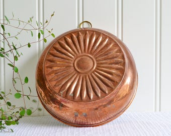 Large ready to hang copper mold, vintage Swedish bakeware
