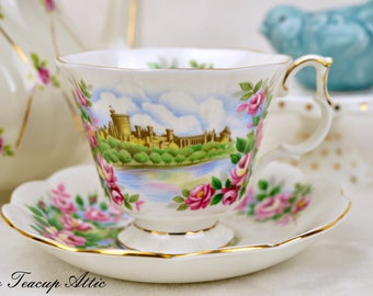 Royal Albert Ancestral Series England's Glory Teacup and Saucer Set, English Tea Cup Set, Replacement China,  ca. 1970-1980