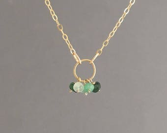 5 TINY Emerald and Gold Circle Necklace also in Sterling Silver