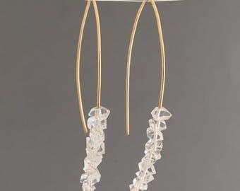 Herkimer Diamond Wishbone Threader Earrings in Gold Fill, Rose Gold Fill, or Sterling Silver