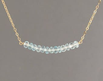 Blue Topaz Beaded Necklace available in Gold, Rose Gold, or Silver