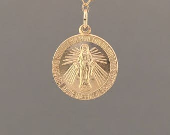 SMALL CIRCLE Virgin Mary Necklace available in Gold Fill or Sterling Silver