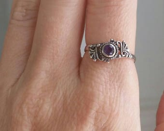 Vintage Sterling Silver Amethyst Ring Size 7 - Victorian Style Handmade 925 Sterling Silver Ring, Sterling Filigree Ring, Faceted Amethyst