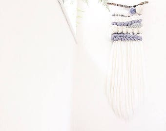 Wall hanging, grey white silver, woven wall hanging, pom pom