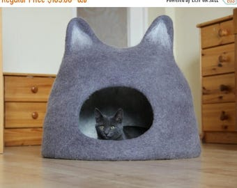 Cat bed - cat cave - cat house - eco-friendly handmade felted wool cat bed - grey with natural light - made to order - gift for pets
