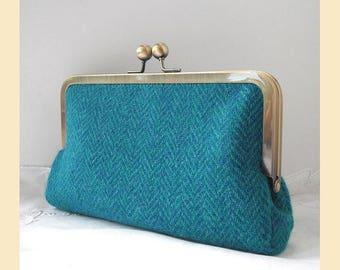 Harris Tweed clutch bag, teal, turquoise wool herringbone, tweed purse, optional personalisation