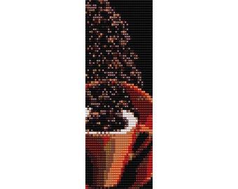 Coffee Loom Bead Pattern, Bracelet Cuff, Bookmark, Seed Beading Pattern Miyuki Delica Size 11 Beads - PDF Instant Download