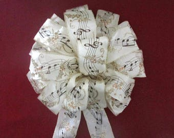 Musical Notes Bow / Music Bow / Christmas Bow / Wreath Bow
